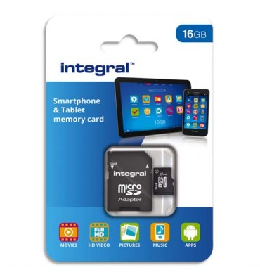 INTEGRAL Carte Micro SDHC 16Go Class10 90MB/s INMSDH16G1090SPTAB+redevance