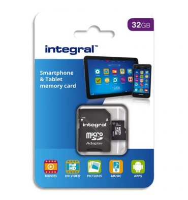 INTEGRAL Carte Micro SDHC 32Go Class10 90MB/s INMSDH32G1090SPTAB + redevance