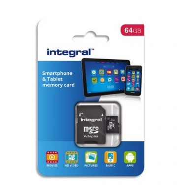 INTEGRAL Carte Micro SDXC 64Go Class10 90MB/s INMSDX64G1090SPTAB+redevance