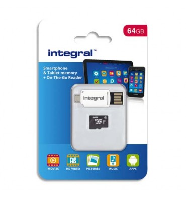 INTEGRAL Carte Micro SDXC 64Go Class 10 90MB/s + Lecteur OTG INMSDX64G10-SPTOTGR + redevance