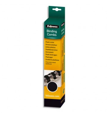 FELLOWES Boîtes de 25 reliures plastique 8 mm noir 53307