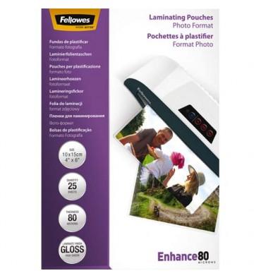 FELLOWES Boîte de 25 pochettes de plastification format photo 10 x 15 cm 80 microns