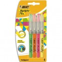 BIC Pochette de 4 surligneur Flex pointe pinceau. Trait 1 à 4,3 mm. Jaune, orange, rose et vert