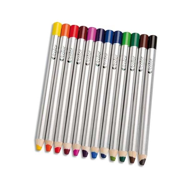 ART PLUS Boîte 12 crayons couleurs gros module pour ardoises et tableau effaçables à sec 180 x 12 mm, mine 8 mm (photo)