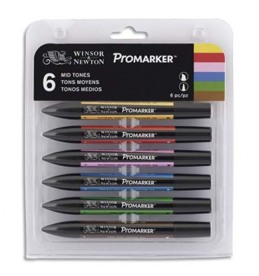 WINSOR & NEWTON Set 6 marqueurs double pointe Promarker. A base d'alcool. Tons moyens assortis