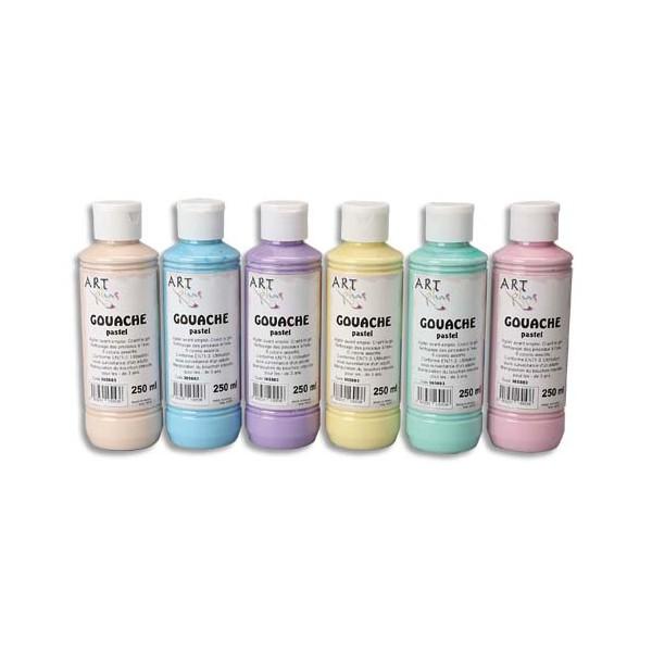 ART PLUS Coffret de 6 x 250 ml gouache pastel assorties (photo)