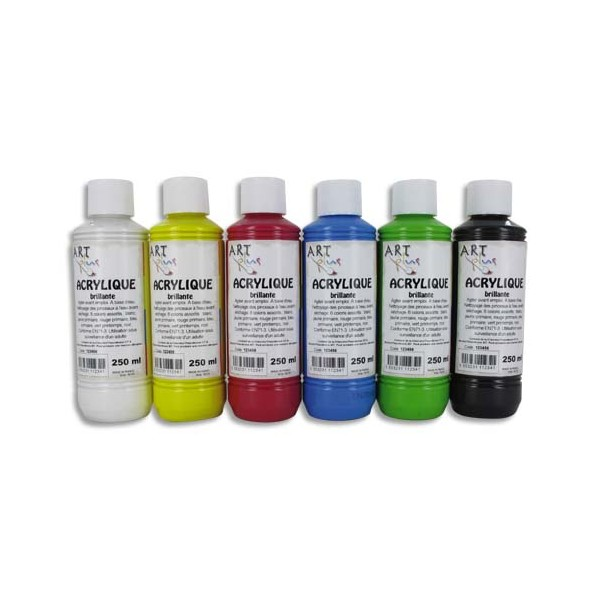 ART PLUS Coffret de 6 x 250 ml acrylique brillante blanc, jaune, rouge, bleu, vert, noir (photo)