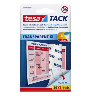 TESA Blister de 36 pastilles adhésives Tack XL. Double-face réutilisable/repositionnable. charge 45g