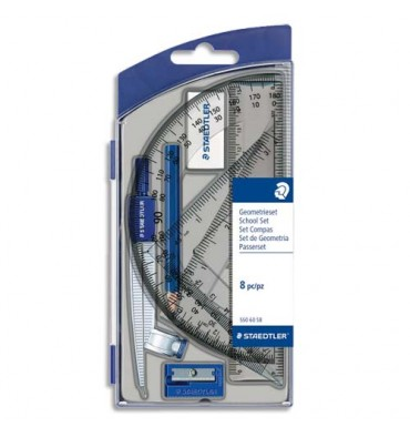 STAEDTLER Set scolaire 1 compas de précision avec attache-compas universelle intégrée + accessoires