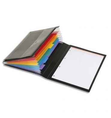 VIQUEL Conférencier à élastiques RAINBOW CLASS en polypropylène 7/10e. Trieur + Porte-bloc + Pochette. Coloris noir