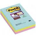 POST-IT Lot de 6 blocs notes Super Sticky Post-it® Grands Formats lignées MIAMI 102 x 152 mm, 90 feuilles