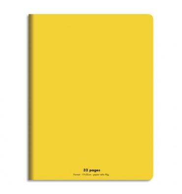 NEUTRE Cahier piqûre 32 pages (idéal pour les maternelles) Seyès 17 x 22 cm. Couverture polypro jaune