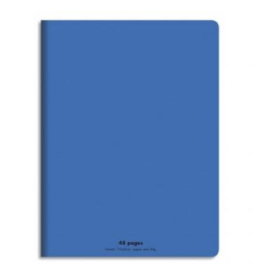 NEUTRE Cahier piqûre 48 pages (idéal pour les maternelles) Seyès 17 x 22 cm. Couverture polypro bleu