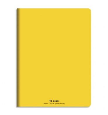 NEUTRE Cahier piqûre 48 pages (idéal pour les maternelles) Seyès 17 x 22 cm. Couverture polypro jaune