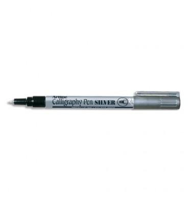 SIGN Stylo calligraphie pointe fibre biseautée 2,5 mm. Coloris argent