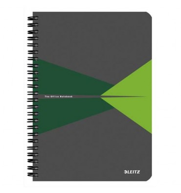 LEITZ Cahier Office 14,8 x 21 cm 180 pages 5x5. Couverture carte grise et verte