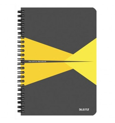 LEITZ Cahier Office 14,8 x 21 cm 180 pages 5x5. Couverture carte grise et jaune