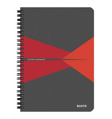 LEITZ Cahier Office 14,8 x 21 cm 180 pages 5x5. Couverture carte grise et rouge