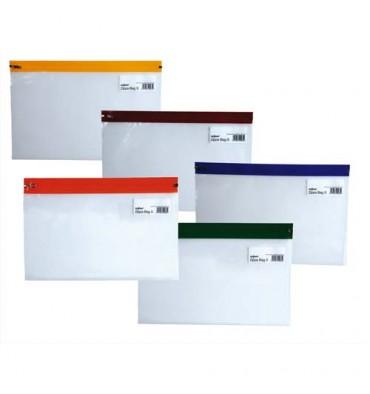 SNOPAKE Sachet de 5 Pochettes Zippa Bag S 140 microns A5 L25,5 x H19 cm transparente avec Zip assortis