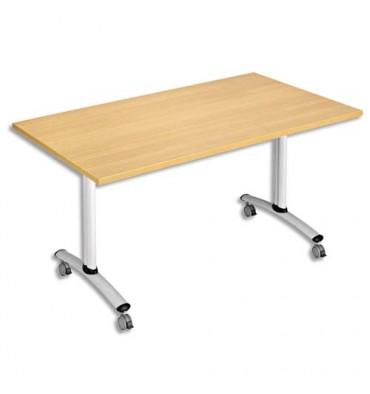 SODEMATUB Table mobile à plateau basculant rectangulaire hêtre aluminium - L140 x H74 x P80 cm