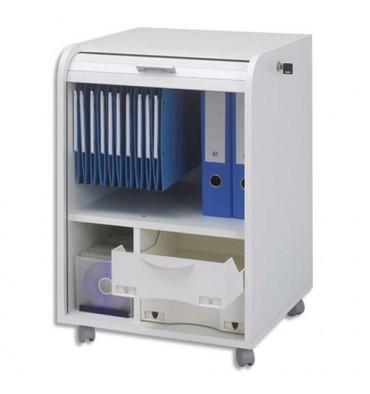 SIMMOB Classeur mobile à rideau Orga Blanc PPSM 1 colonne 2 tiroirs + 1 étage dossiers suspendus - L47 x H69 x P47 cm