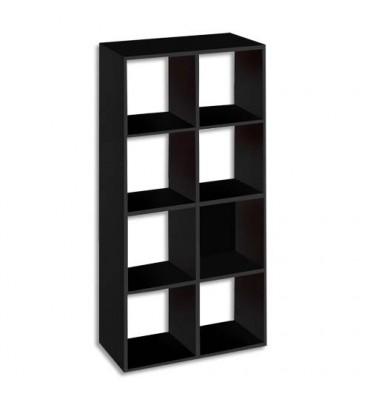MT INTERNATIONAL Bibliothèque multi-cases 8 cases MT1 élégance coloris noir - L73 x H142,5 x P33 cm