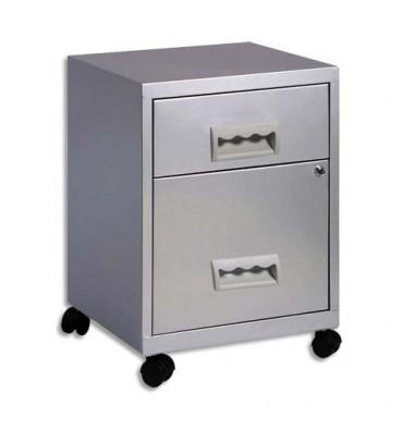 PIERRE HENRY Caisson Combi 2 tiroirs à roulettes aluminium, 1 tiroir pour dossiers suspendus - L40 x H57 x P40 cm