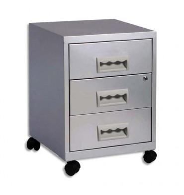 PIERRE HENRY Caisson Rang Concept 3 tiroirs à roulette aluminium - L40 x H57 x P40 cm