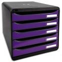 EXACOMPTA Module de classement 5 tiroirs. Coloris noir/violet glossy. 27,8 x 26,7 x 34,7 cm