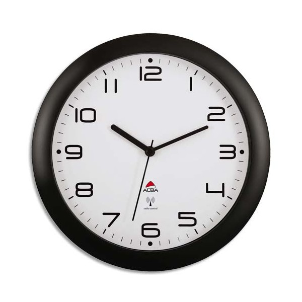 alba horloge murale radio pilot e noir m tal diam tre 30 cm new pilot e. Black Bedroom Furniture Sets. Home Design Ideas
