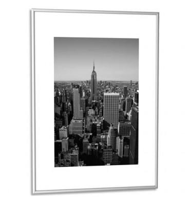 PAPERFLOW Cadre photo contour aluminium coloris argent, plaque en plexiglas. Format 60 x 80 cm