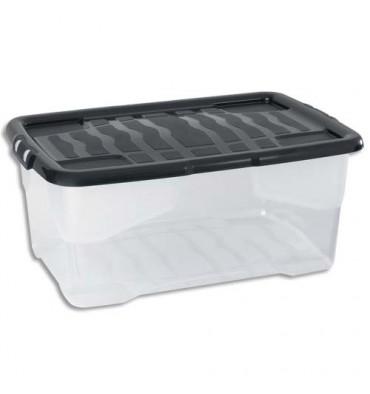 STRATA Boîte de rangement avec couvercle cristal noire, capacité 42 Litres - 60 x 39,7 x 25,2 cm