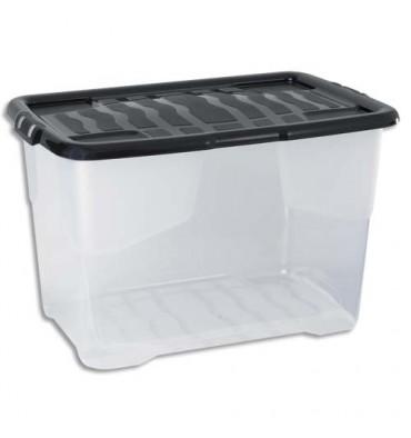 STRATA Boîte de rangement avec couvercle cristal noire, capacité 65 Litres - 60 x 39,7 x 37,8 cm