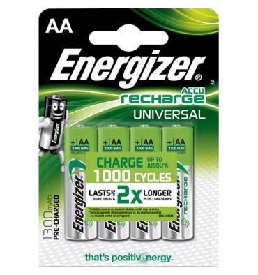 ENERGIZER Blister de 4 piles AA LR6 Universal rechargeable 1300 mAh