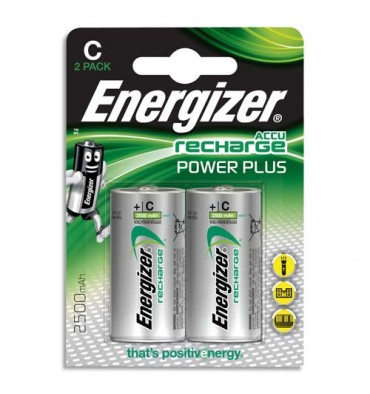 ENERGIZER Blister de 2 piles C LR14 Power plus recheargeable 2500 mAh