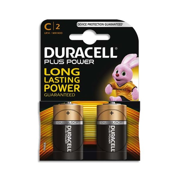 DURACELL Blister de 2 Piles Alcaline 1,5V C LR14 Plus Power (photo)