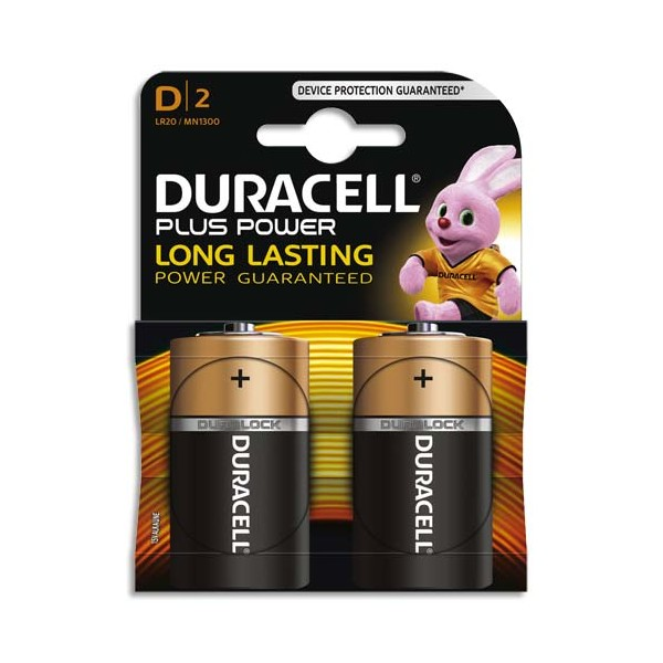 DURACELL Blister de 2 Piles Alcaline 1,5V D LR20 Plus Power (photo)