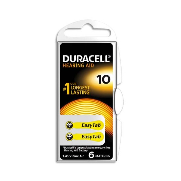 DURACELL Boîte de 6 piles auditive Easy Tab 10 (photo)