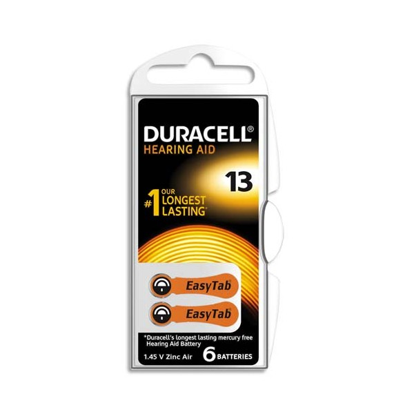 DURACELL Boîte de 6 piles auditive Easy Tab 13 (photo)