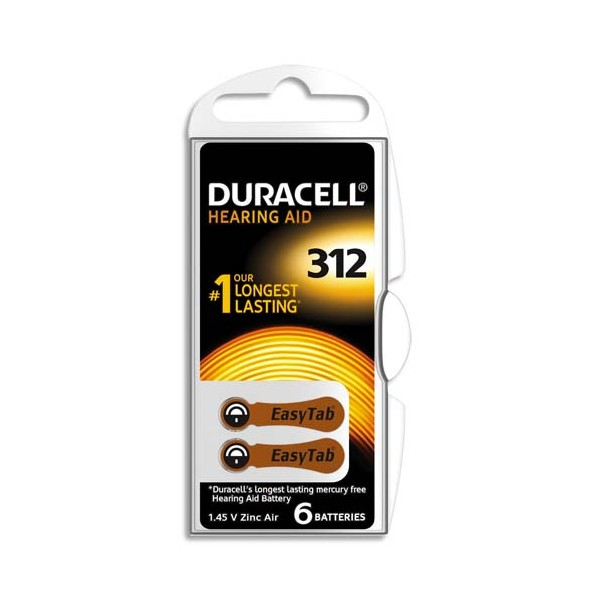 DURACELL Boîte de 6 piles auditive Easy Tab 312 (photo)