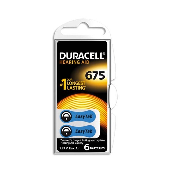 DURACELL Boîte de 6 piles auditive Easy Tab 675 (photo)
