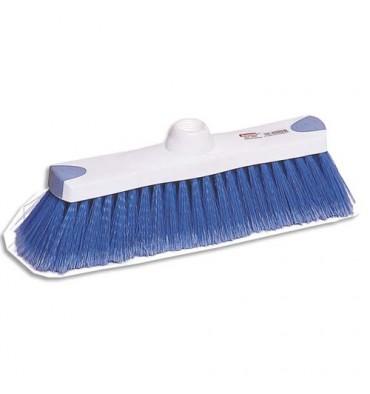 BROSSERIE THOMAS Balai en fibre en PVC souple bleue Ergotouch, monture blanche en polypropylène L28 x H7,5 x P4,5 cm