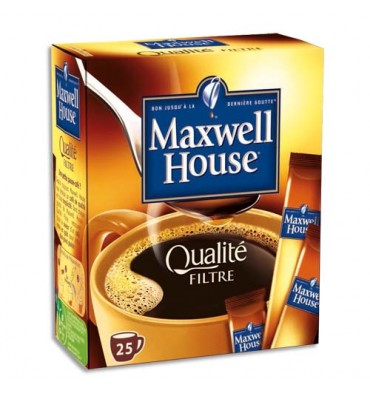 MAXWELL HOUSE Boîte de 25 Sticks de 45g d'Arabica soluble Qualité filtre normal