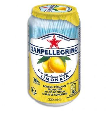 SANPELLEGRINO Canette 33 cl de jus pétillant aromatisé Limonata Citron à base de concentré