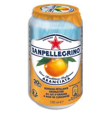 SANPELLEGRINO Canette 33 cl de jus pétillant aromatisé Aranciata Orange à base de concentré