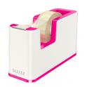 LEITZ Dévidoir WOW Dual blanc rose fourni avec un ruban adhésif