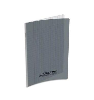 CONQUERANT CLASSIQUE Cahier piqûre 17 x 22 cm 48 pages grands carreaux 90g. Couverture polypro gris