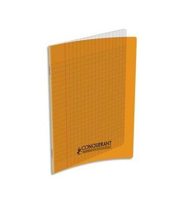 CONQUERANT CLASSIQUE Cahier piqûre 17 x 22 cm 48 pages grands carreaux 90g. Couverture polypro orange