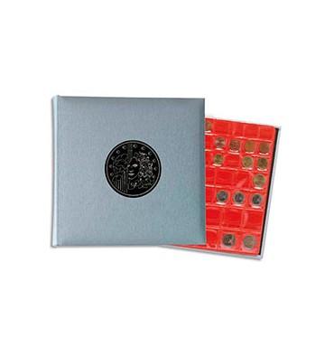 EXACOMPTA Album Pièces de monnaie (capacité 215). 5 feuilles x 43 cases +5 intercalaires 25 x 25 cm. Gris métal