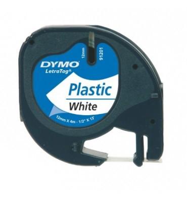 DYMO Ruban LETRATAG Noir / Plastique blanc 12 mm x 4 m - 91201